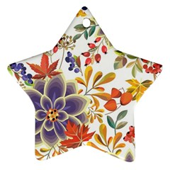 Autumn Flowers Pattern 5 Star Ornament (two Sides) by tarastyle