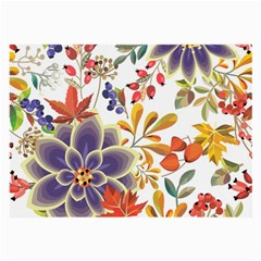 Autumn Flowers Pattern 5 Large Glasses Cloth (2 Side) by tarastyle