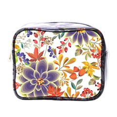 Autumn Flowers Pattern 5 Mini Toiletries Bags by tarastyle