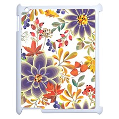 Autumn Flowers Pattern 5 Apple Ipad 2 Case (white) by tarastyle