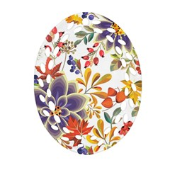 Autumn Flowers Pattern 5 Ornament (oval Filigree) by tarastyle