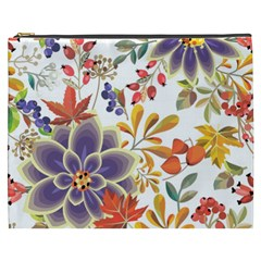 Autumn Flowers Pattern 5 Cosmetic Bag (xxxl)  by tarastyle