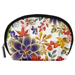 Autumn Flowers Pattern 5 Accessory Pouches (large)  by tarastyle
