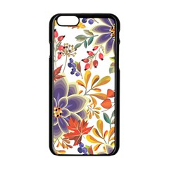 Autumn Flowers Pattern 5 Apple Iphone 6/6s Black Enamel Case by tarastyle