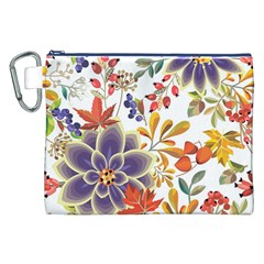 Autumn Flowers Pattern 5 Canvas Cosmetic Bag (xxl) by tarastyle