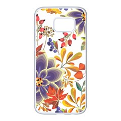 Autumn Flowers Pattern 5 Samsung Galaxy S7 Edge White Seamless Case by tarastyle