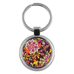 Autumn Flowers Pattern 6 Key Chains (round)  by tarastyle