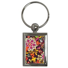 Autumn Flowers Pattern 6 Key Chains (rectangle)  by tarastyle