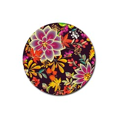 Autumn Flowers Pattern 6 Rubber Coaster (round)  by tarastyle
