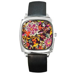 Autumn Flowers Pattern 6 Square Metal Watch by tarastyle