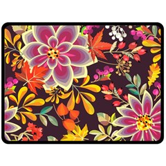 Autumn Flowers Pattern 6 Fleece Blanket (large)  by tarastyle