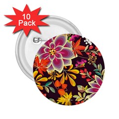 Autumn Flowers Pattern 6 2 25  Buttons (10 Pack)  by tarastyle
