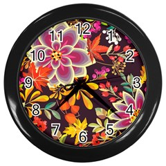Autumn Flowers Pattern 6 Wall Clocks (black) by tarastyle