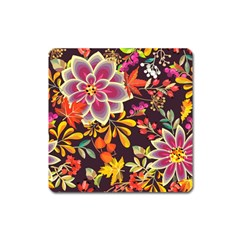 Autumn Flowers Pattern 6 Square Magnet by tarastyle