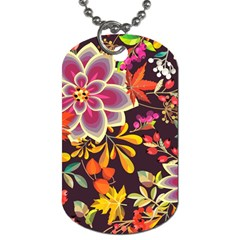 Autumn Flowers Pattern 6 Dog Tag (two Sides) by tarastyle