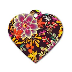 Autumn Flowers Pattern 6 Dog Tag Heart (one Side) by tarastyle
