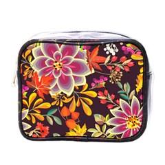 Autumn Flowers Pattern 6 Mini Toiletries Bags by tarastyle