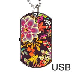 Autumn Flowers Pattern 6 Dog Tag Usb Flash (two Sides) by tarastyle