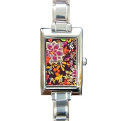 Autumn Flowers Pattern 6 Rectangle Italian Charm Watch by tarastyle