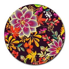 Autumn Flowers Pattern 6 Round Mousepads by tarastyle