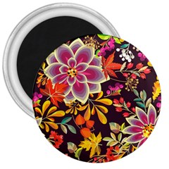 Autumn Flowers Pattern 6 3  Magnets by tarastyle