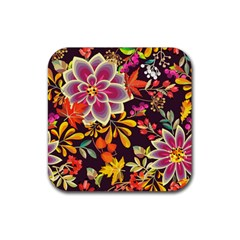 Autumn Flowers Pattern 6 Rubber Coaster (square)  by tarastyle