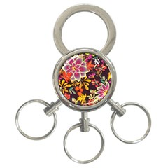 Autumn Flowers Pattern 6 3 Ring Key Chains by tarastyle