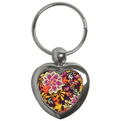 Autumn Flowers Pattern 6 Key Chains (heart)  by tarastyle