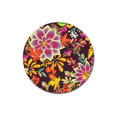 Autumn Flowers Pattern 6 Magnet 3  (round) by tarastyle