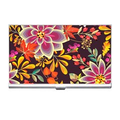 Autumn Flowers Pattern 6 Business Card Holders by tarastyle