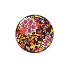 Autumn Flowers Pattern 6 Hat Clip Ball Marker (4 Pack) by tarastyle