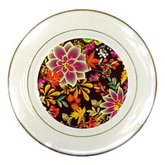 Autumn Flowers Pattern 6 Porcelain Plates by tarastyle