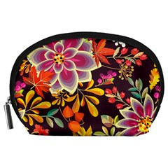 Autumn Flowers Pattern 6 Accessory Pouches (large)  by tarastyle