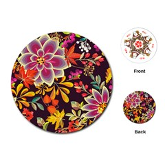 Autumn Flowers Pattern 6 Playing Cards (round)  by tarastyle
