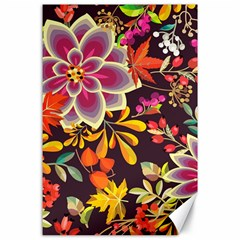 Autumn Flowers Pattern 6 Canvas 24  X 36  by tarastyle