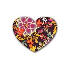 Autumn Flowers Pattern 6 Rubber Coaster (heart)  by tarastyle