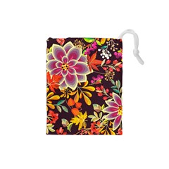Autumn Flowers Pattern 6 Drawstring Pouches (small)  by tarastyle