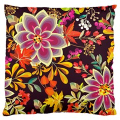 Autumn Flowers Pattern 6 Large Flano Cushion Case (one Side) by tarastyle