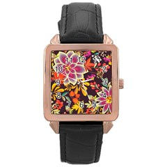 Autumn Flowers Pattern 6 Rose Gold Leather Watch  by tarastyle