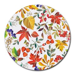 Autumn Flowers Pattern 7 Round Mousepads by tarastyle