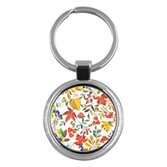 Autumn Flowers Pattern 7 Key Chains (round)  by tarastyle