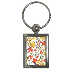 Autumn Flowers Pattern 7 Key Chains (rectangle)  by tarastyle
