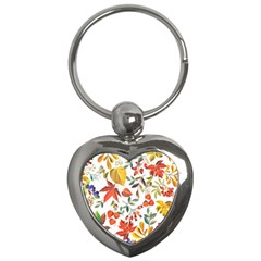 Autumn Flowers Pattern 7 Key Chains (heart)  by tarastyle