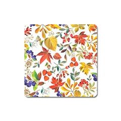 Autumn Flowers Pattern 7 Square Magnet by tarastyle