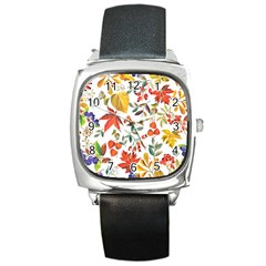 Autumn Flowers Pattern 7 Square Metal Watch by tarastyle