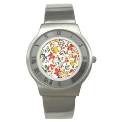 Autumn Flowers Pattern 7 Stainless Steel Watch by tarastyle