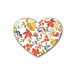 Autumn Flowers Pattern 7 Rubber Coaster (heart)  by tarastyle
