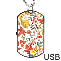 Autumn Flowers Pattern 7 Dog Tag Usb Flash (two Sides) by tarastyle