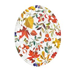 Autumn Flowers Pattern 7 Oval Filigree Ornament (two Sides) by tarastyle