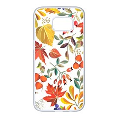 Autumn Flowers Pattern 7 Samsung Galaxy S7 Edge White Seamless Case by tarastyle